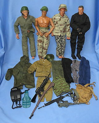 "4 GI Joe 12"" action figures with accessories, 1990s"