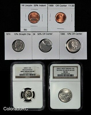 Lot of 7 Error Coins including 2 Certified by NGC MS66