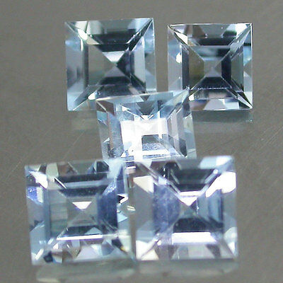 5Pcs/1.58Cts/4x4mm. Sets Shinning!! 100%Natural Nice Blue Aquamarine Square