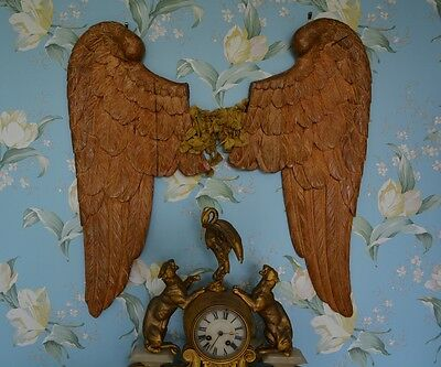 Rare Antique French Carved Wood Gilded Angel Wings