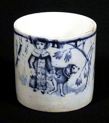 1800s Antique Staffordshire ABC CHILD'S MUG CUP Girl Dog Pottery China N/R!
