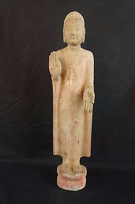 "Great vintage Thai Buddha figurine 16"" metal with concrete? on top [Y7-W8-A9-E9]"