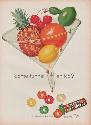 1960 Life Savers Candy Some Funnel Color Ad Big Bright Still Only 5 cents BB121