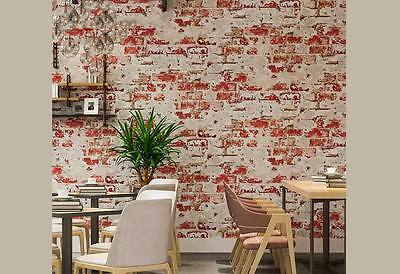 Havana Rustic 3D wash brick look RED wallpaper industrial shop fitting wallpaper