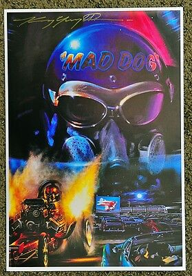New Kenny Youngblood Signed Mad Dog Front Engine Dragster Drive In Movie Print