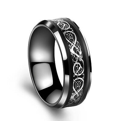 Fashion Jewelry Silver Celtic Dragon Titanium Stainless Steel Rings Size12 YX143