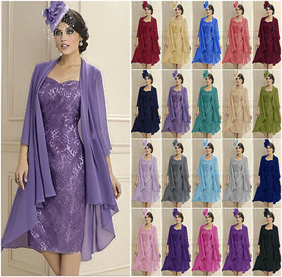 New Mother of The Bride Dress Chiffon Jacket Lace Dresses Formal Suit Ball Gown
