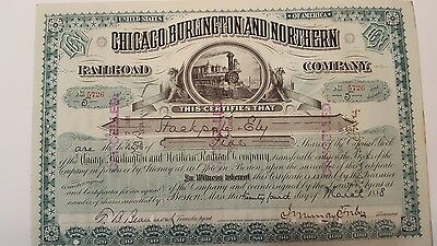 Chicago Burlington and Northwestern Railroad stock certificate 1888 Forbes Auto