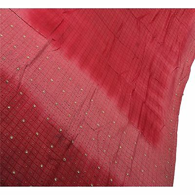 Sanskriti Antique Vintage Indian Saree 100% Pure Silk Hand Beaded Fabric Sari