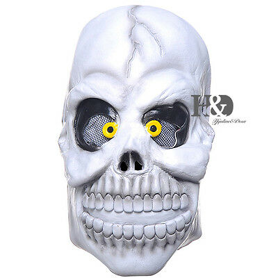 Adult Scary Green Latex Eye Skull Mask Halloween Party Costumes Prop Fancy Dress