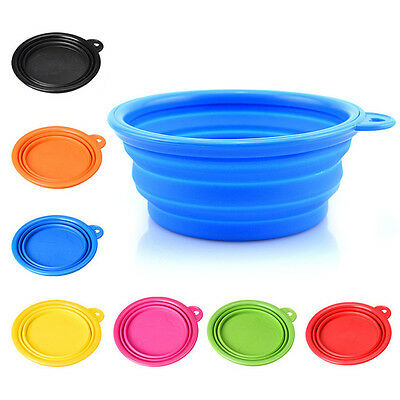 Pet Dog Portable Silicone Collapsible Travel Feeding Bowl Food Water Dish Feed H