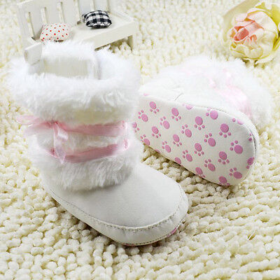 Cute Newborn Baby Snow Boots Toddler Boy Girl Infant Soft Sole Booties 1# White