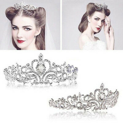 Bridal Crown Veil Princess gift Stunning Crystal Hair Tiara Wedding Headband