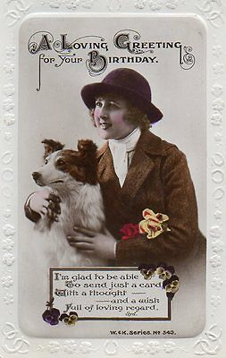 VINTAGE BIRTHDAY GREETING postcard LADY WITH COLLIE DOG