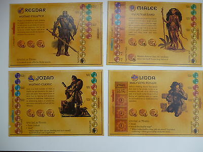 DUNGEONS & DRAGONS 4 HERO CARDS - BOARD GAME SPARESby PARKER VGC
