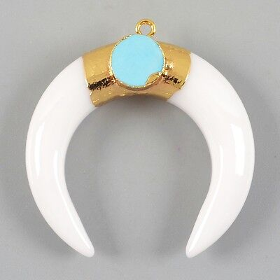Crescent Double Horn White Glass & Howlite Turquoise Charm Gold Plated H80516