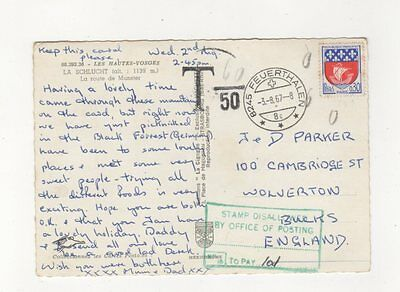 Stamp Disallowed By Office Of Posting 1d To Pay 3 Aug 1967  Charge Mark 384b