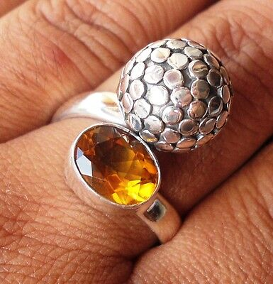 925 Sterling Silver- Bali Hand Made Ring Armadillo & Citrine Cut Size 7