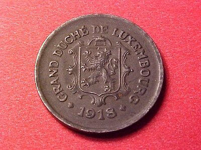Luxembourg 5 Centimes Iron 1918 Scarce Wwi Issue