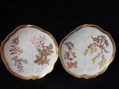 Pair Of 1930S Royal Worcester Hand Painted Leaf Dishes