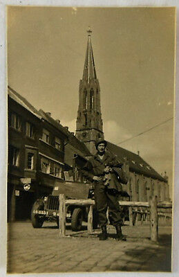 WWII Real Photo Postcard ( RPPC ) ~ American Soldier Standing in Front of Church