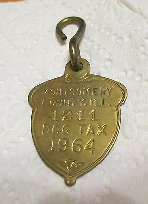 Brass Dog Tag 1964 Montgomery County Illinois License Tax Vintage