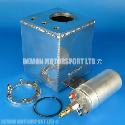 Alloy 2 Ltr JIC AN6 -6 Fuel Swirl Pot Surge Tank with 60mm High Flow Fuel Pump