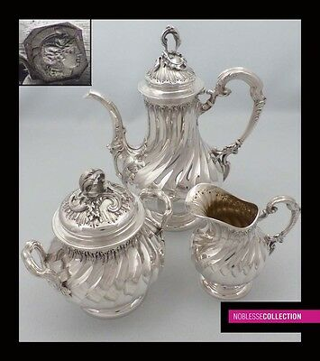 AMAZING ANTIQUE 1880s FRENCH FULL STERLING SILVER TEA POT SET 3 pc Rococo style