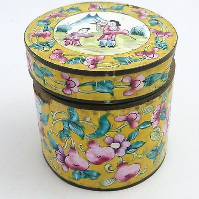 Chinese Canton Enamel Cylindrical Box And Cover, 19Th Century