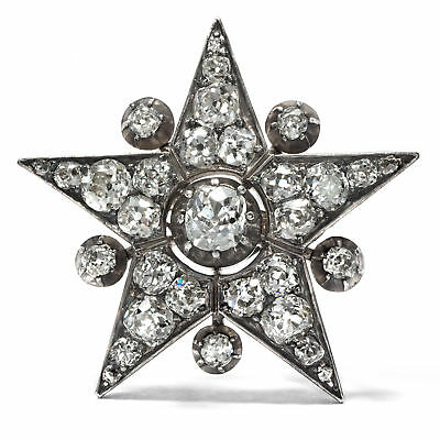 Um 1890: Antiker Diamant Stern als Brosche, Diamanten in Gold & Silber / Star