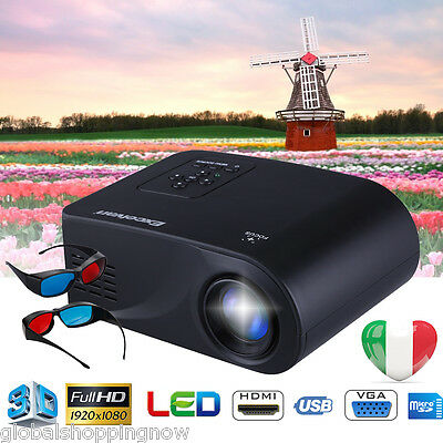 Mini 3D 1080P HD LED Videoproiettore HDMI/USB/VGA/AV Home Cinema Projector IT