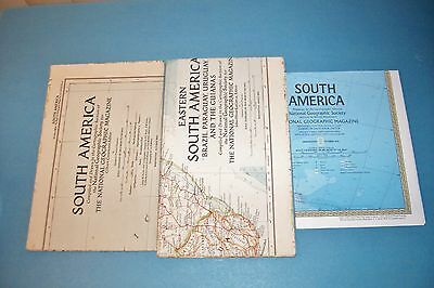 3 Vintage National Geographic South America Maps