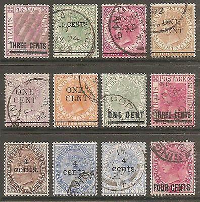 1885-99 Straits Settlements QV Surcharges Selection Used (Cat £60)