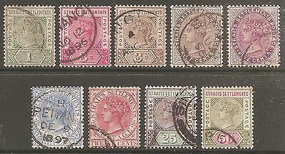 1892-99 Straits Settlements QV Wmk Crown CA Selection Used (Cat £26)