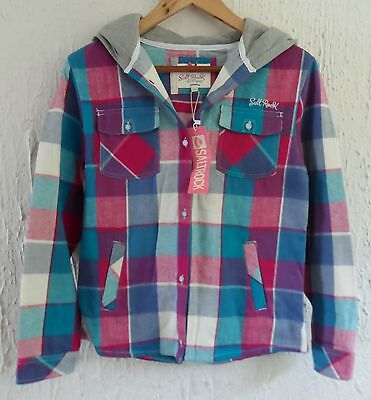 Salt Rock Girls Pink/Red Blue Grey Checked Hoodie Over-Shirt Light Jacket Age 13