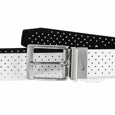 New Nike Golf Mens Perforated Faux Leather Belt : Reversible White / Black
