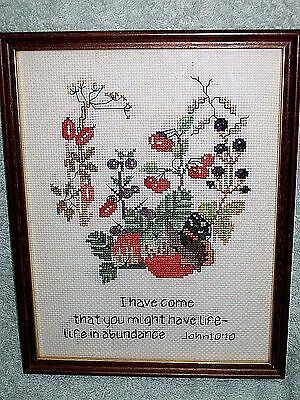 Completed & Framed Cross Stitch. Religious Verse
