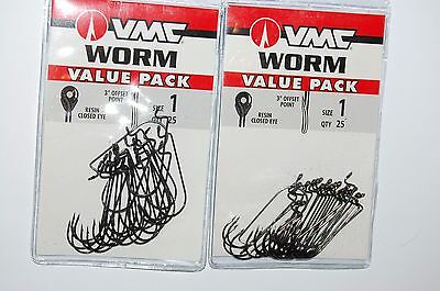 vmc bass plastic worm bass hook offset point resin closed eye size 2 value pack