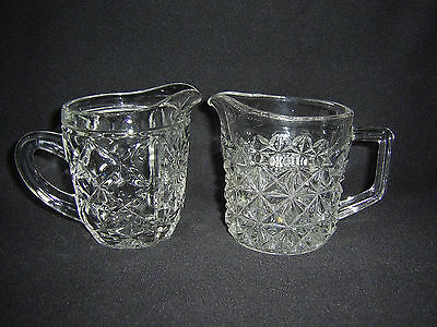 Vintage Pair Of Pressed Glass Milk Jugs.
