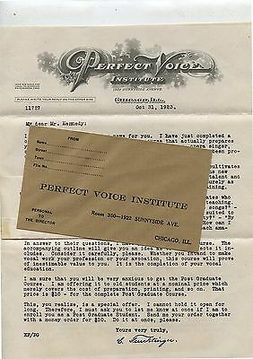 4 Old 1923 Letterheads Perfect Voice Institute Chicago IL
