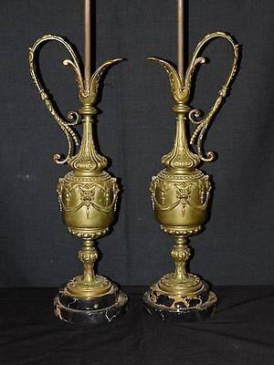 Pair ANTIQUE French Classical Urn Brass or Bronze Table Lamps w Marble Bases
