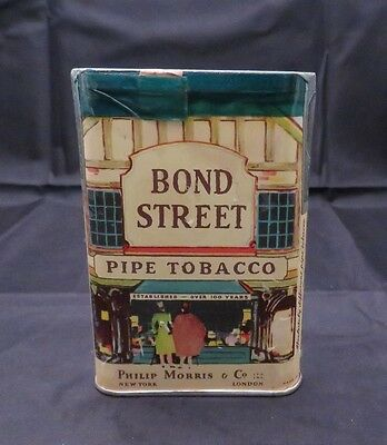 Vintage Bond Street Pipe Tobacco Litho Tin Philip Morris & Co, Unopened