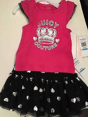 Authentic New Juicy Couture 2 Piece Baby Girl Tutu Set Size 6-9 Months