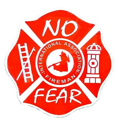 "International Association Fireman Magnet No Fear 5"" Red Maltese Cross Fire Dept"