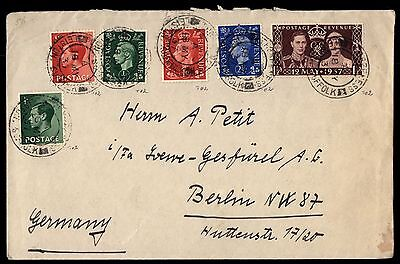 Great Britain Leiston Suffolk 1937 Cover to Berlin Germany May 18