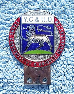 VINTAGE 1950s YOUNG CONSERVATIVES & UNIONIST ORGANISATION CAR BADGE - TORY RARE