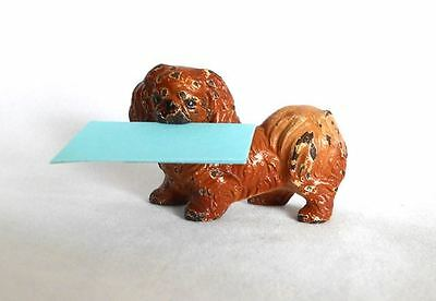 Vintage Antique HUBLEY Cast Iron Pekingese Dog Card Holder Figurine Paperweight