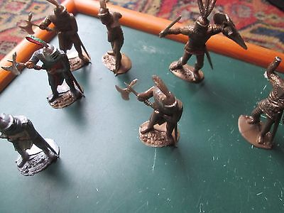 Collection  of 1970s Timpo?  7 medieval knights  part painted Made in England