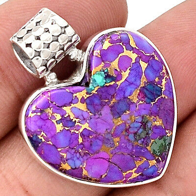 Copper Purple Turquoise 925 Sterling Silver Pendant  Jewelry PP27630