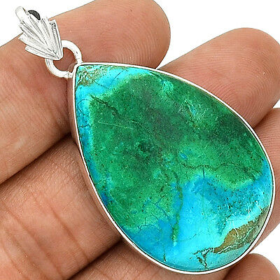 13g Azurite 925 Sterling Silver Pendant  Jewelry PP43794